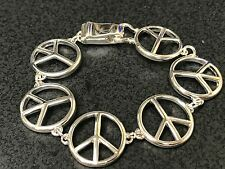 60's Peace Signs Silver Linked Charm Magnetic Bracelet D624