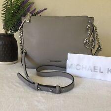 $278 MICHAEL MICHAEL KORS Lillie Large Leather Messenger Handbag Pearl Grey -NWT