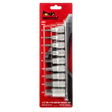 TENG TOOLS  1/2 DRIVE HEX ALLEN KEY BIT SOCKET SET 5mm - 17mm WITH SOCKET RAIL