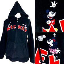 Womens Disney Mickey Mouse Black Fleece Jacket Sz M Embroidered Full Zip Minnie