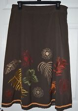 Silkland Brown Embroidered Floral Feather Lined Skirt Size 10 32x30 Dry Clean