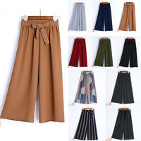 Summer Women Wide Leg Chiffon Pants High Waist Casual Loose Culottes Trousers OL