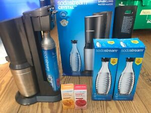 Soda Stream Crystal Sparkling Water Maker With  Glass Bottles and flavours