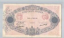 FRANCE 500 FRANCS BLEU ET ROSE 17 MARS 1927 A.1009 N° 25200562 PICK 66K