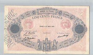 France 500 Francs Blue And Pink 17 Mars 1927 A.1009 N° 25200562 Pick 66K