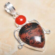"""Handmade Obsidian Mahogany Jasper 925 Sterling Silver Pendant 2.5"""" #P11082"""