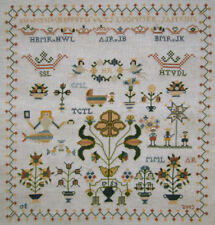 WOW! COMPLETED REPRODUCTION SAMPLER ANTIQUE DUTCH 1753 STYLE FLOWERS MERMAID