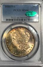 1880/9-S Morgan Dollar PCGS MS66 CAC Rainbow Toning Very Eye Appealing!