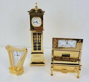 BULOVA - Set of 3 Miniature Brass Collectible Clocks,  1998, Movement Japan