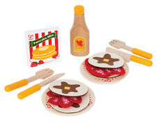 New HaPe Pancakes Complete Play Food Set, Wood and Felt, kitchen pretend cooking