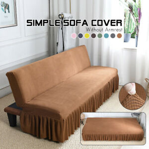 Stretch Armless Sofa Bed Cover Futon Slipcover Skirt Full Folding Elastic 8Color