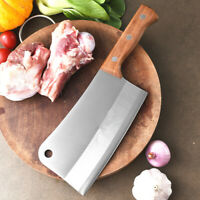 "Professional 7"" Stainless Steel Fine Kitchen Knife Cleaver Chopper Wood Handle"