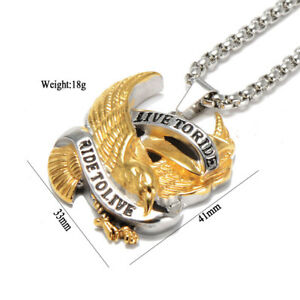 Live to Ride Flying Eagle Pendant Biker Stainless Steel Men's Unisex Necklace Ca