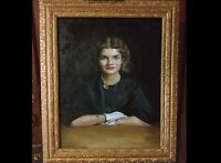 """Original Oil Painting """"Young Jacqueline Bouvier"""" (Jackie Kennedy) Framed in Gold"""