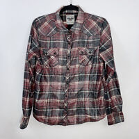 Harley Davidson Womens Metallic Plaid Pearl Snap Button Up Shirt Graphic Size L