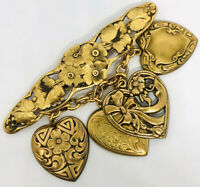 Beautiful Dangling Heart Chatelaine Brooch Filigree Openwork Vintage Jewelry
