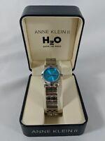 Vintage Anne Klein II H2O Women's Calendar Watch Stainless Steel Wristwatch Blue