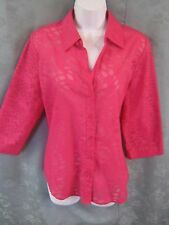 Chicos Shirt Size 8 (Chico's Size 1) Sheer Burnout Bright Pink Casual Top