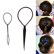 2 Pcs SET Black Topsy Tail Hair Braid Ponytail Maker Styling Tool Hair Accessory