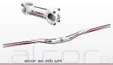 ITM Alcor 80 Aluminio MTB Riser Manillar Potencia Set blanco 90mm 2017