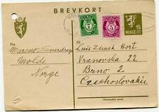 Norway Molde 1948 Uprated Stamped Stationery Postcard Abroad to Czechoslovakia