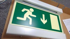 Emergency Exit Sign  - Lighting - Exit Box - Arrow Down - WHITE STEAL BORDER