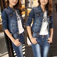 Womens Slim  Vintage Long Sleeve Jean Coat Denim Short Casual Jacket Blue