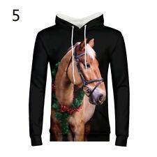 Mens Hoodie Horse 3D Clear Print Sweater Pullover Overhead Sweatshirt Coat