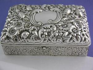 Fabulous Sterling Silver GORHAM Box c1896 ~ multi Floral Repousse