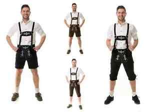 Almwerk Herren Trachten Lederhose Kniebund oder kurz Almhirsch schwarz und braun
