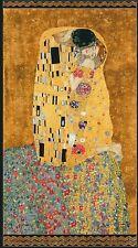 Robert Kaufman Digitally Printed Fabric Panel Gustav Klimt The Kiss Gold w/Met