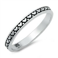 Sterling Silver 925 HEART BAND DESIGN RING 2.5 MM SIZES 4-10
