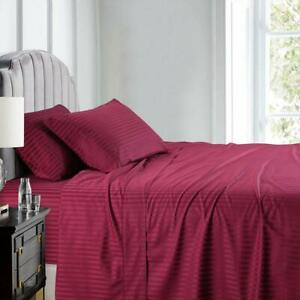 600 Thread Count Pure Cotton Sateen Sheets Damask Striped Bed Sheet Set