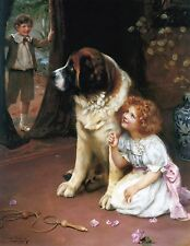 "Arthur Elsley, Saint Bernard Dog, antique decor, Victorian, 14""x11"" Art Print"