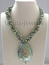 "17 "" 3row green keshi reborn freshwater pearl necklace +Abalone shell pendant"