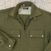 Donegal Vintage 60s Large Green Wool Popover Shirt Zipper Rockabilly Chinstrap
