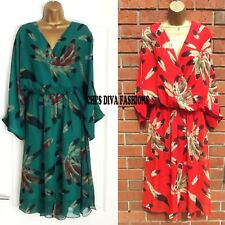 Chiffon Feather Print kimono sleeve wrap Dress One Size UK 12-16