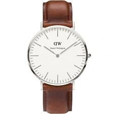 New Daniel Wellington Mens Watch Classic St Mawes Silver Brown Leather  0207DW