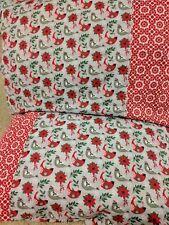 Christmas bird pattern 100% new Cotton handmade Pillowcase one pair
