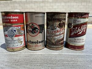 Budweiser Schlitz Falstaff beer flat top cans can OI St. Louis Milwaukee Omaha