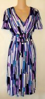 NWOT! DRESSBARN TURQUOISE PURPLE WHITE PRINT CAREER DRESS SIZE 12  D123