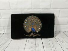Vintage Velvet Clutch Evening Bag with Metallic thread embroidery - Peacock
