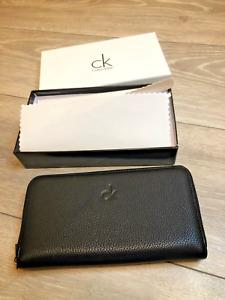 Calvin Klein CK Black Wallet Purse Porte-monnaie Leather