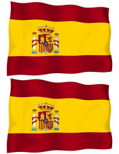 Spain FLAG VINYL BUMPER STICKER DECAL set of 2(4x2.8 Inches) Waiving Flag