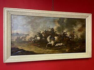 quadro antico dipinto a olio su tela battaglia cavalli con cornice 900 anni 50
