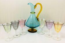 Murano vintage liqueur 6 harlequin glass and jug set - excellent