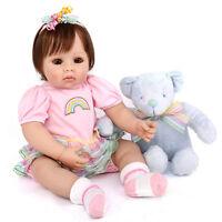 "Vinyl Silicone 20"" Toddler Reborn Baby Girl Doll Lifelike Newborn Bebe Toys 1pcs"