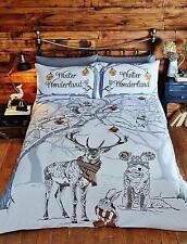 """Rapport """"Winter Wonderland"""" Gold Reindeer Stag Christmas Design Duvet Cover Set"""
