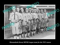 OLD POSTCARD SIZE PHOTO OF SHENANDOAH IOWA THE MINK LEAGUE BASEBALL TEAM c1911