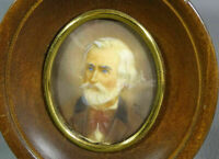 1880' Victorian Noble Bearded Man Bust Portrait Miniature Painting Artist Signed
